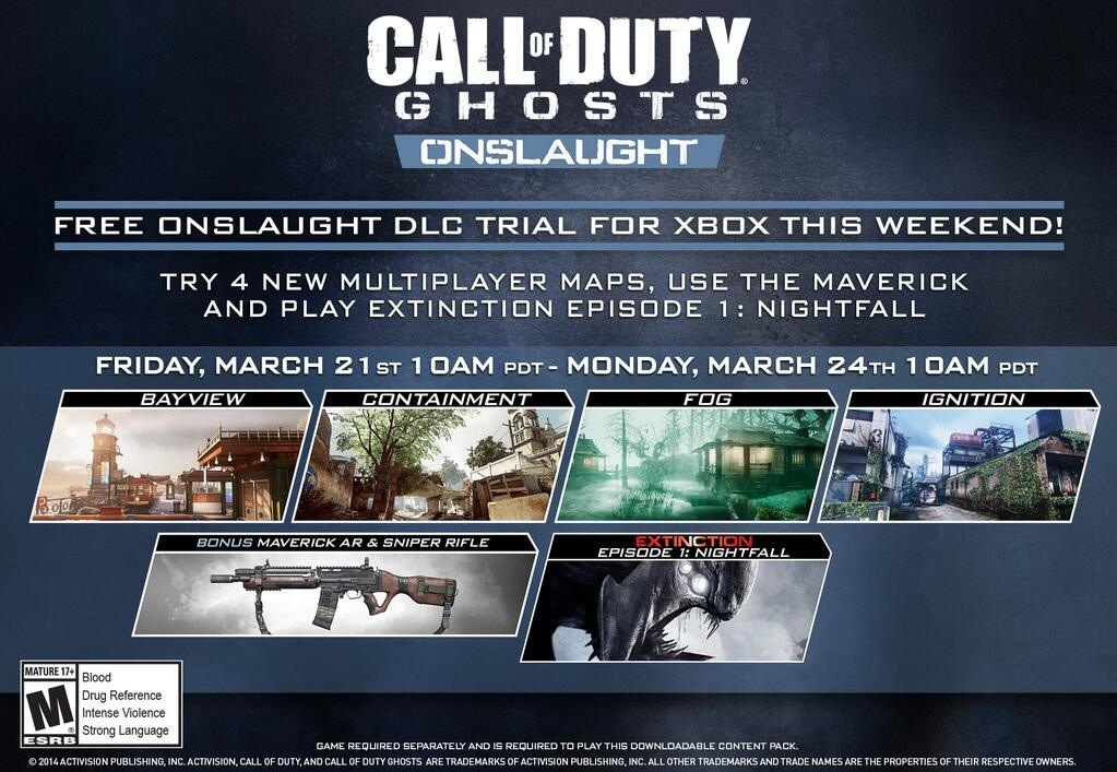Call Of Duty Ghosts Onslaught Dlc Free Trial Comes To Xbox From
