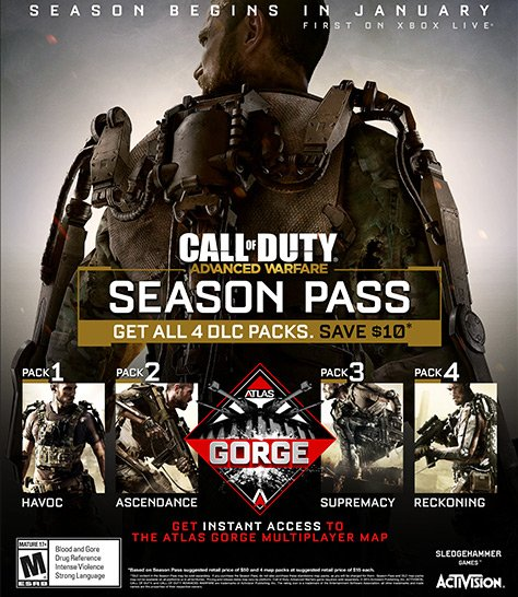Advanced Warfare DLC's are called 'Havoc', 'Ascendance', 'Supremacy on