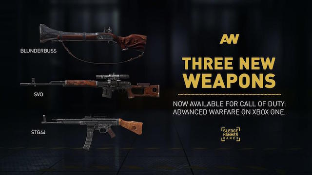 Blunderbuss Stg44 And Svo Weapons For Advanced Warfare Available Now On Xbox One Charlie Intel