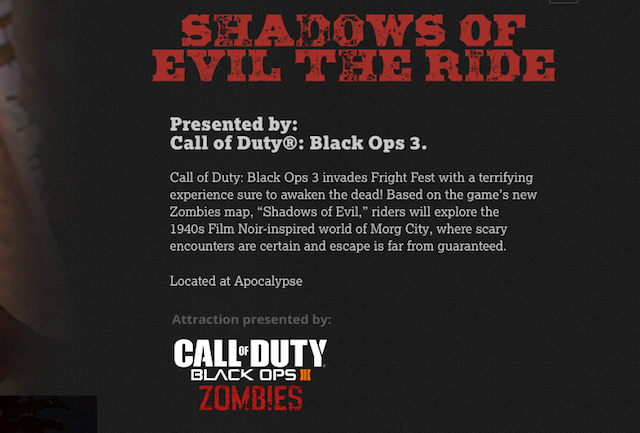 Black Ops 3 Zombie's Shadows of Evil gets its own theme park ride at