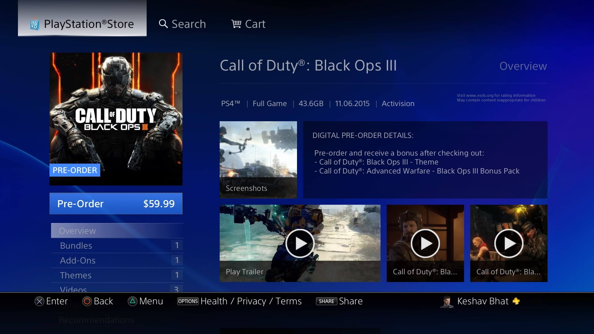 Black Ops 3 On Playstation 4 Requires 43 6gb Of Space Update
