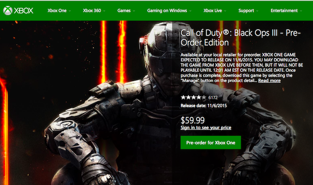 Call Of Duty Black Ops 3 Digital Preorders Returns To The Xbox One Store Update Charlie Intel