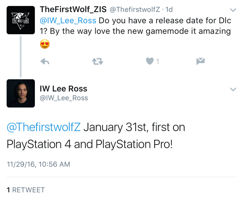 rumor infinite warfare dlc 1 available jan 31st on ps4 charlie intel