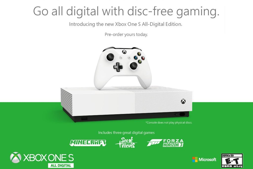 Disc-less Xbox One S All-Digital Edition Hits Stores This May
