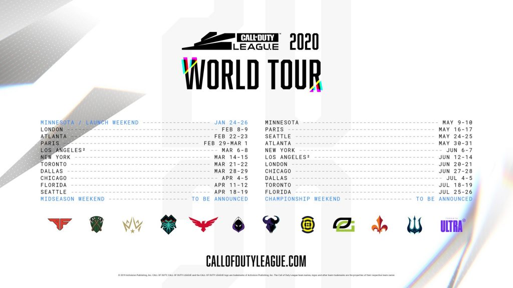 January 19th 2020 Events New York.Call Of Duty League 2020 Season Schedule Announced Charlie