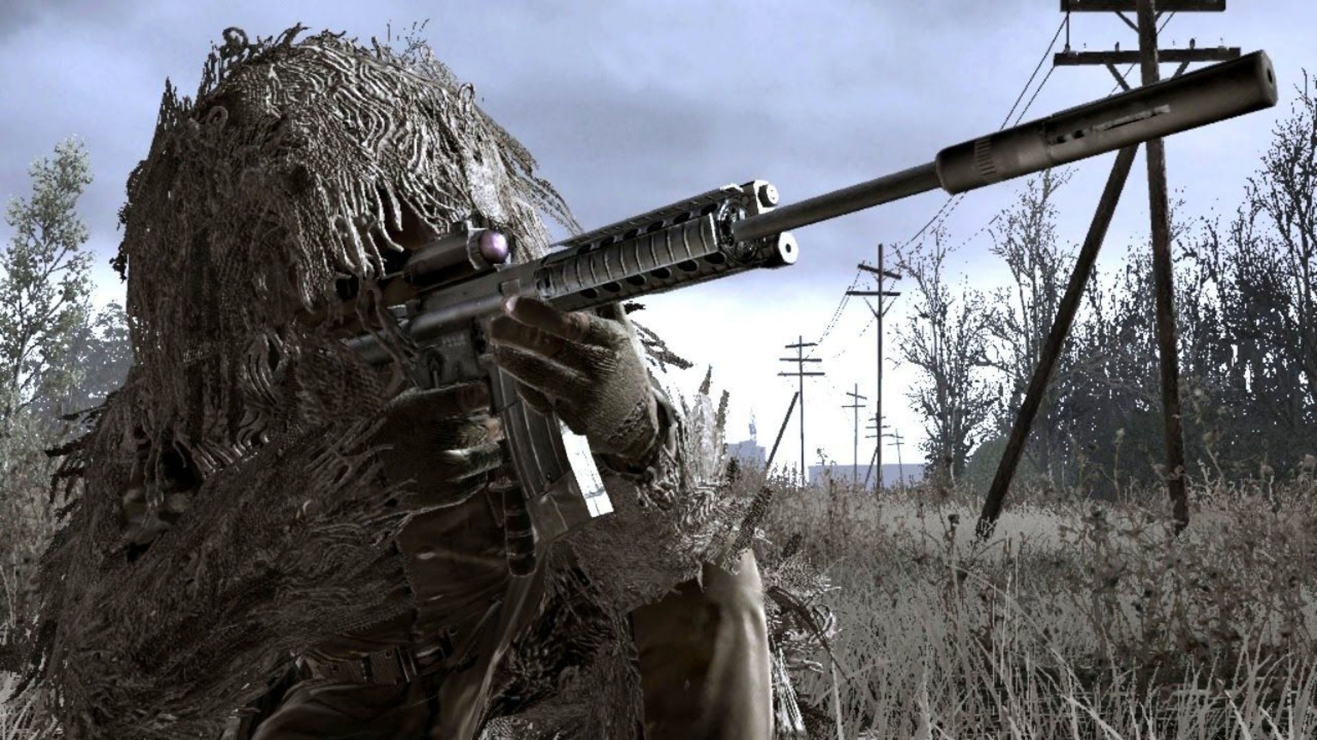 Character wearing a ghillie suit in COD4