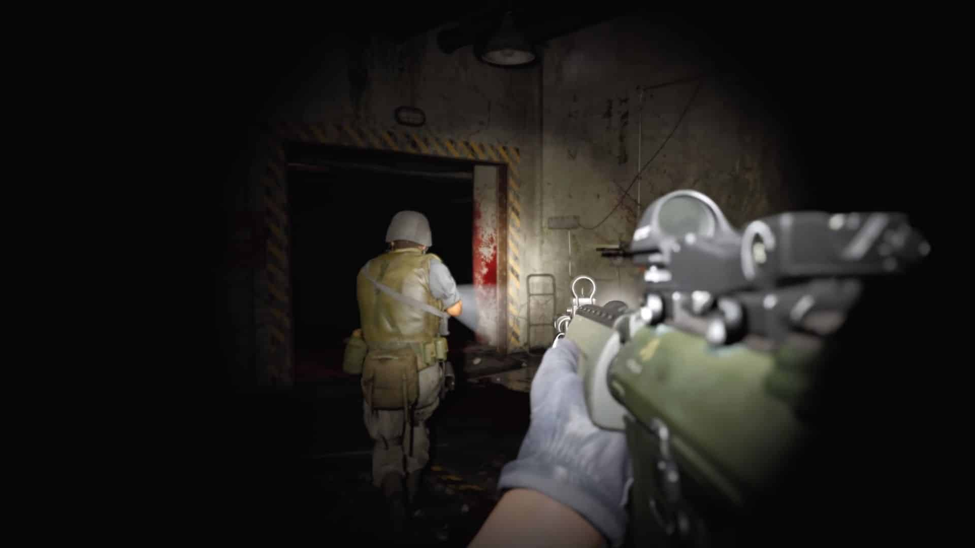 players walking down hallway in bocw zombies