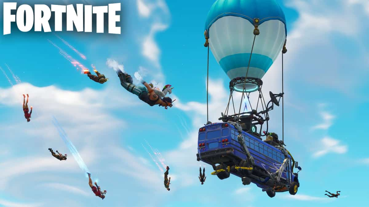 Fortnite players jumping out of the Battle Bus.