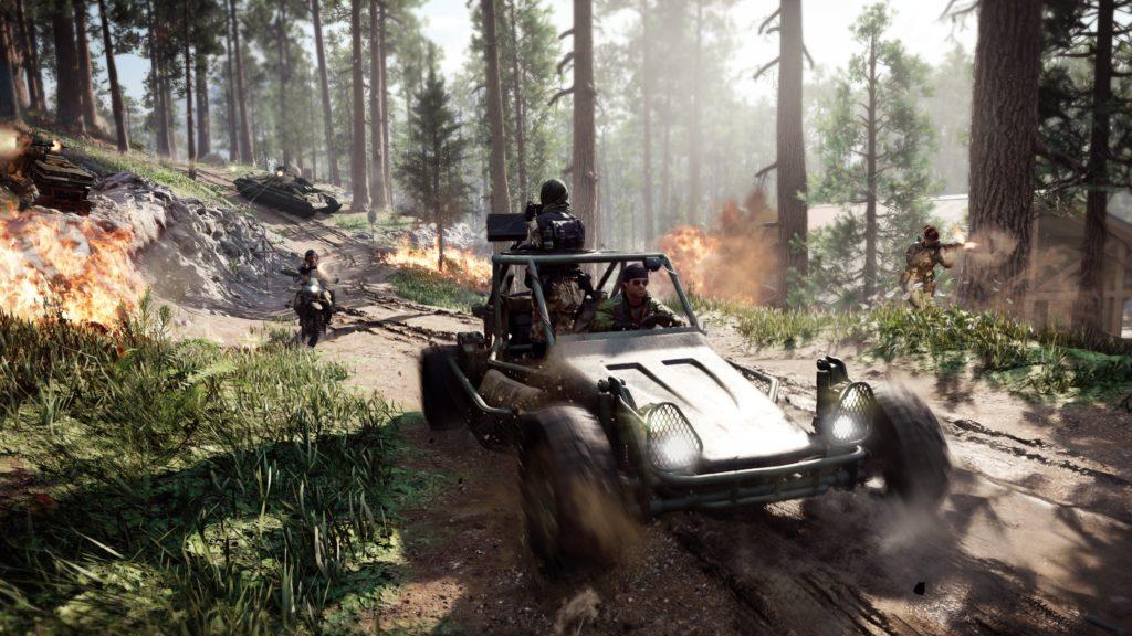 Players driving vehicles in Black Ops Cold War's Fireteam: Dirty Bomb.