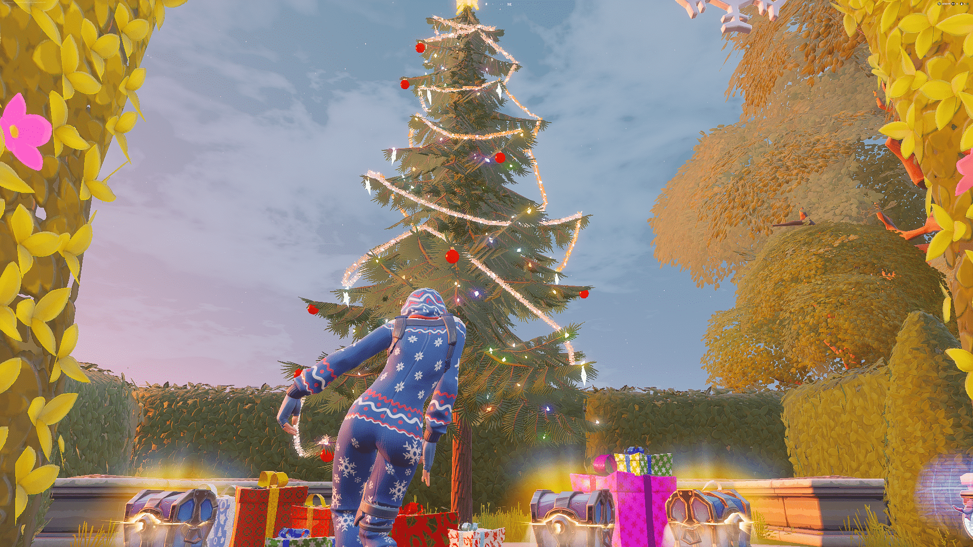 Fortnite player dancing at Holiday Tree