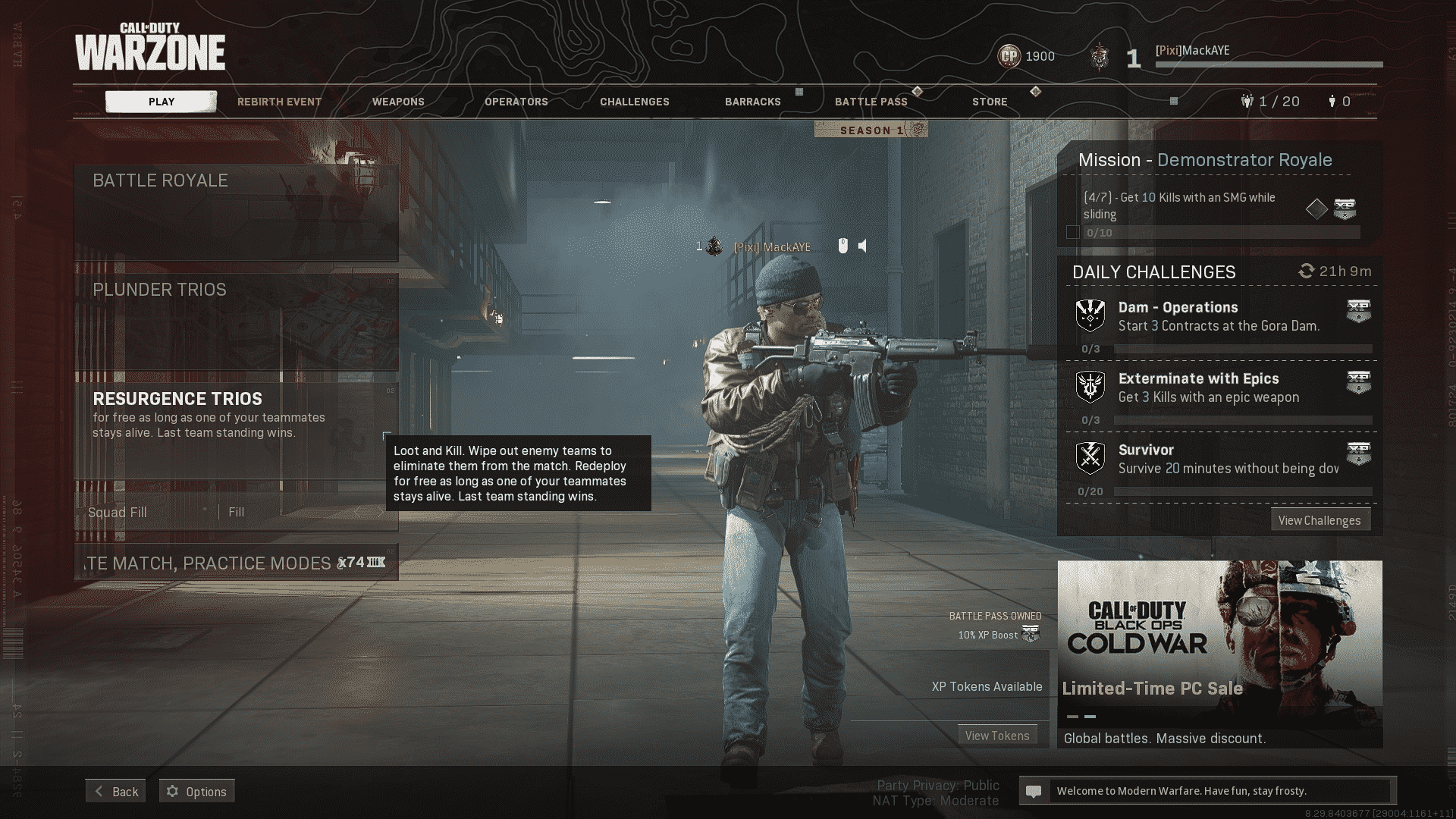Resurgence in the Call of Duty: Warzone menus