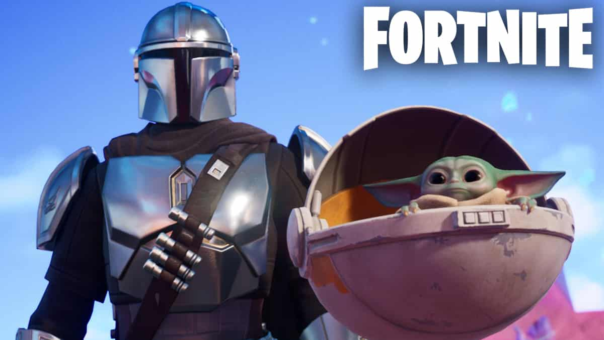 The Child floating alongside The Mandalorian in Fortnite.