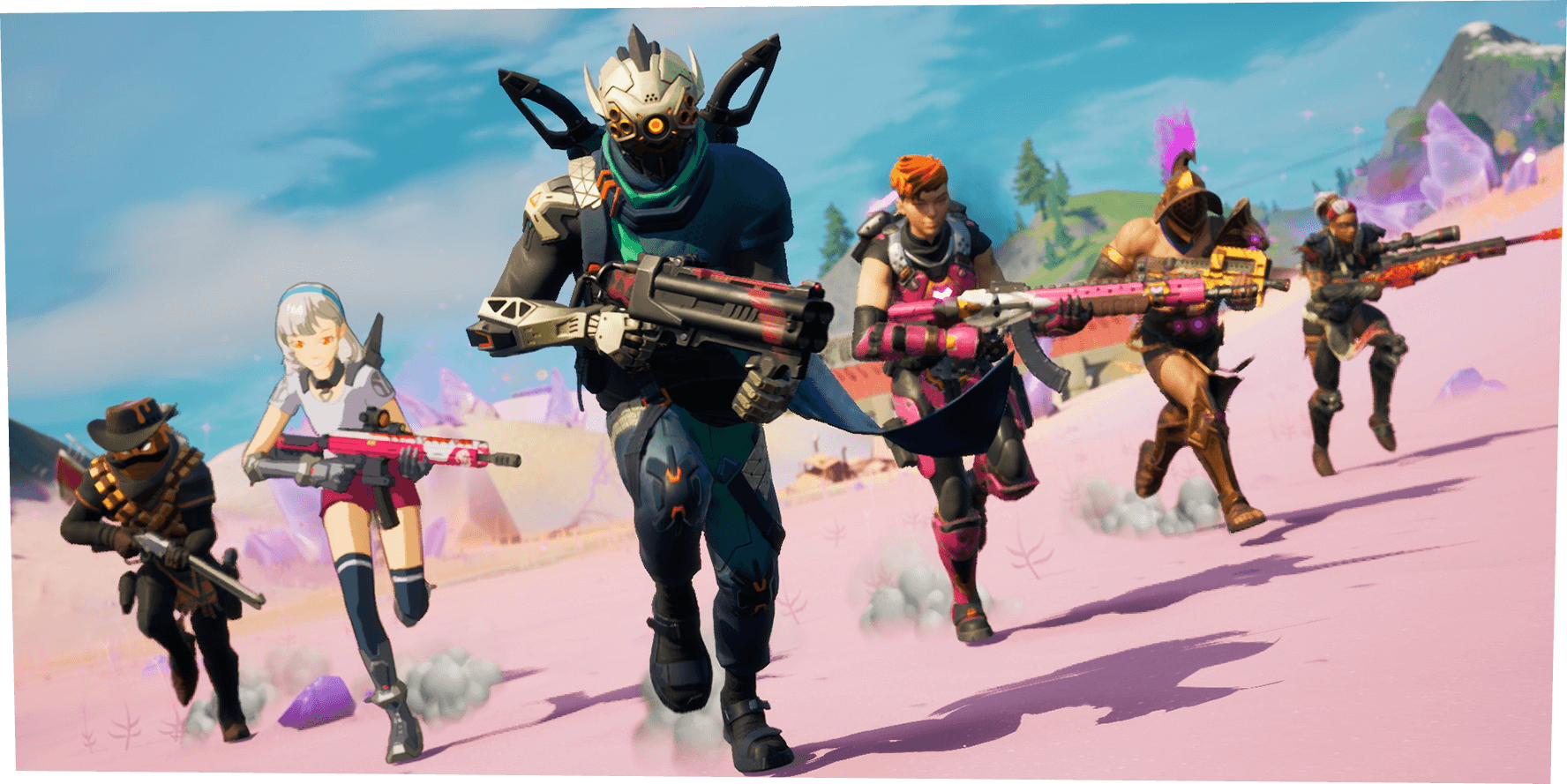 Fortnite characters holding some of Season 5's newest weapons.