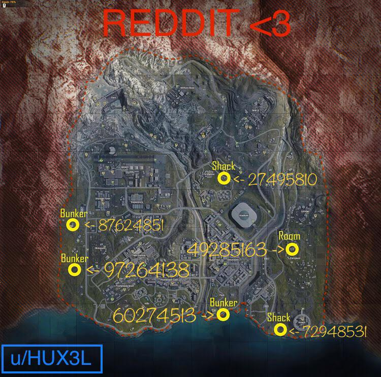 Map of Warzone Bunkers that require Keypad Codes