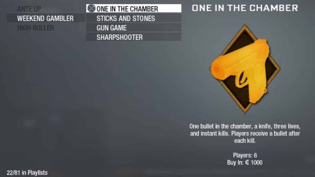 one in the chamber mode in call of duty