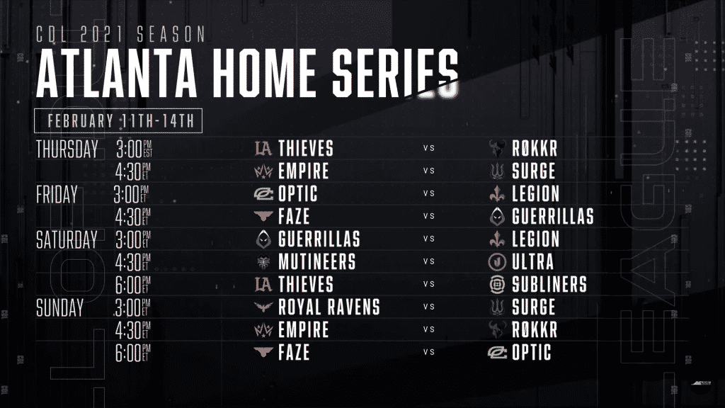 Atlanta FaZe Home Series schedule