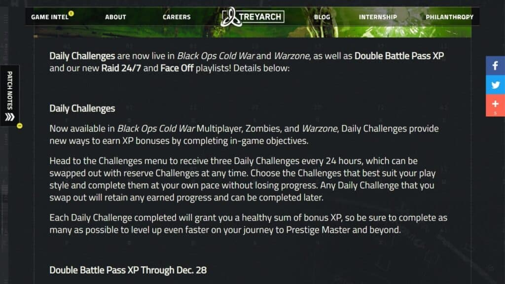 daily challenges in cod black ops cold war & warzone