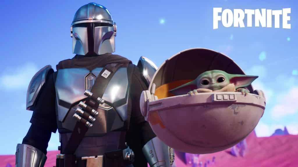 The Mandalorian and Grogu in Fortnite Season 2 Chapter 5.