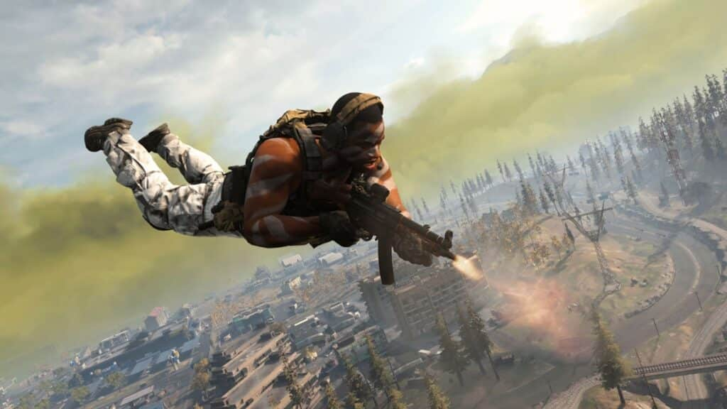 A player dropping in in cod Warzone