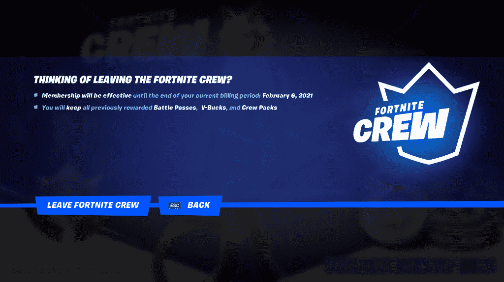 Leaving Fortnite Crew screen