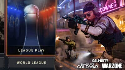 League Play logo and BOCW character.