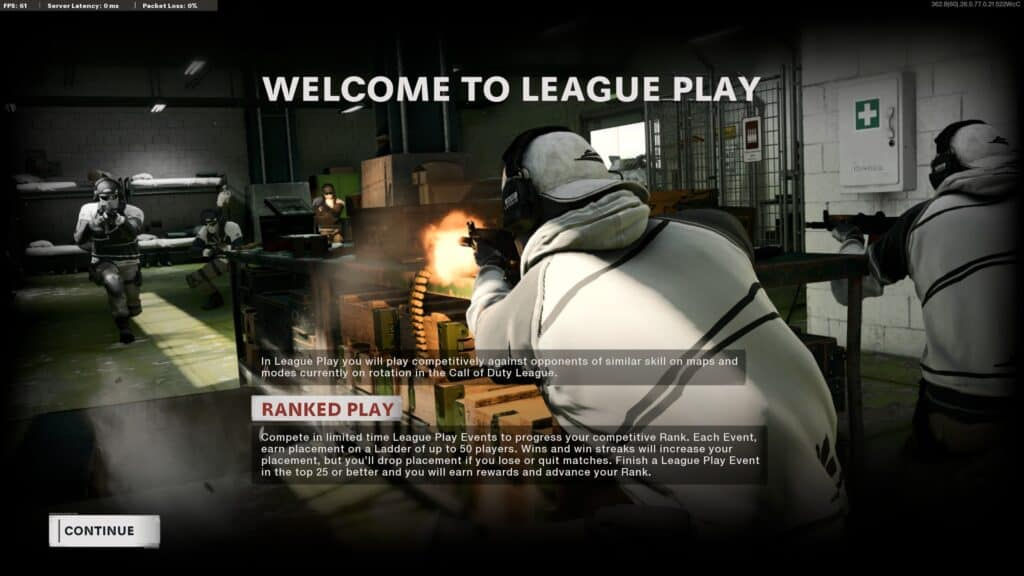 Black Ops Cold War's League Play / Rated Play home screen