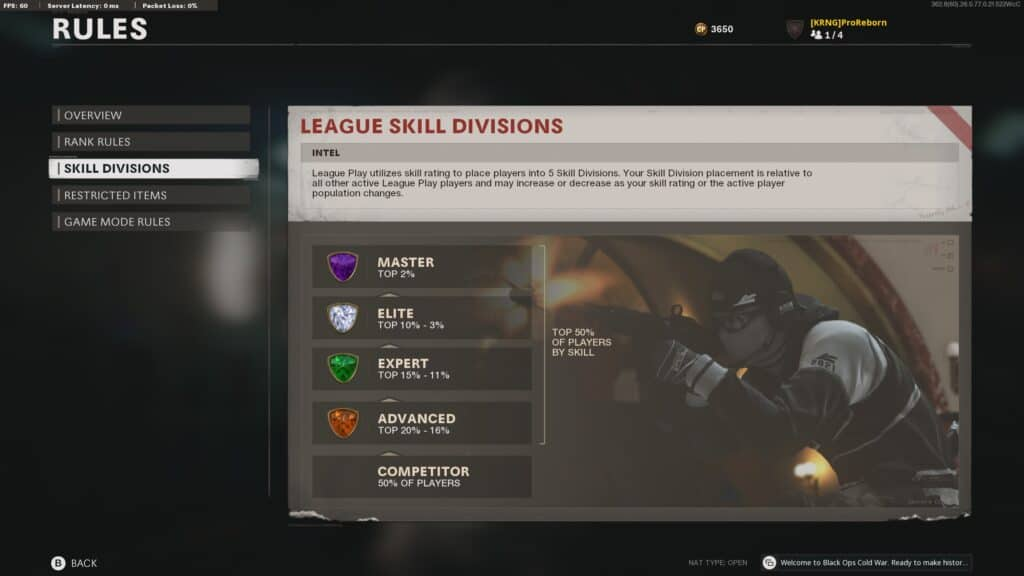 Black Ops Cold War's League Play Skill Divisions Explained
