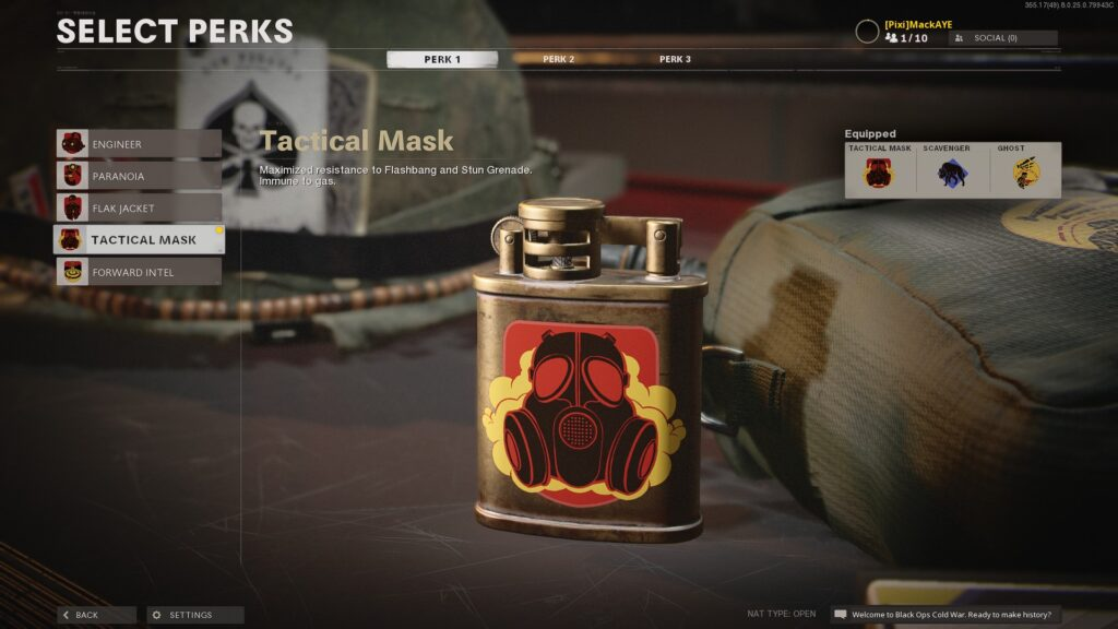 black ops cold war Tactical Mask perk